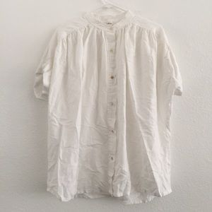 Wilfred Aritzia White Button Down Roll Sleeves Top